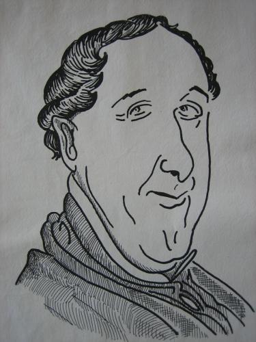 Rossini 2 - Im Körper von Rossini - Karikatur von Jan Beumelburg
